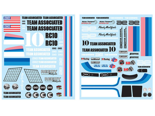 Image Of Associated RC10 Classic Decal Sheet