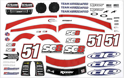 Associated SC8 Decal Sheet AS89441