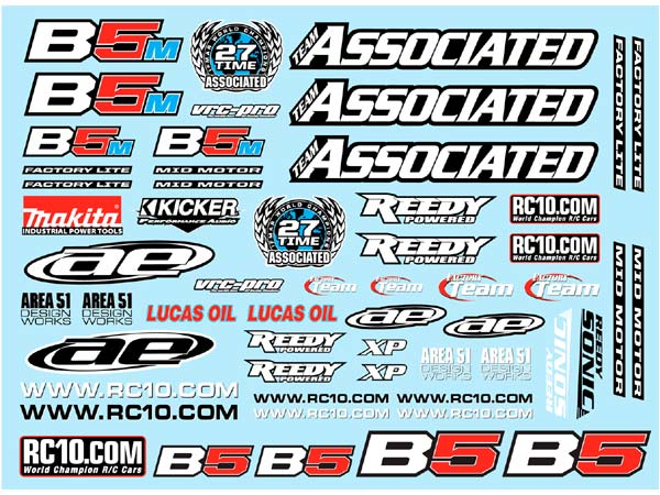 Associated RC10B5 Series Decal Sheet AS91614