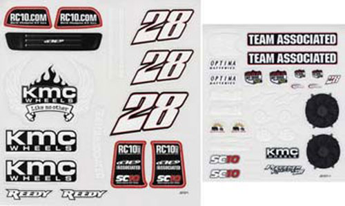 Associated SC10 Decal Sheet KMC AS9843