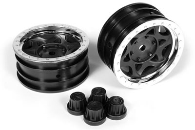 Image Of Axial 1.9 Walker Evans Wheels - Chrome/Black (2)