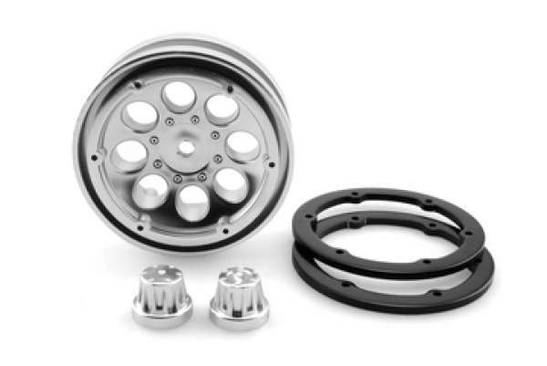 Image Of Axial 1.9 8 Hole Beadlock Wheel - Satin Chrome