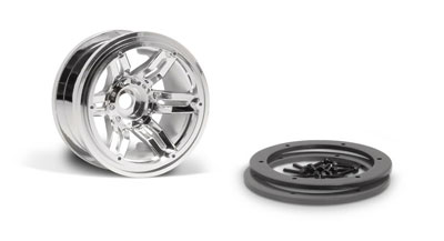 Image Of Axial 2.2 Rockster Beadlocks Wheels (Chrome) 12mm 2pc
