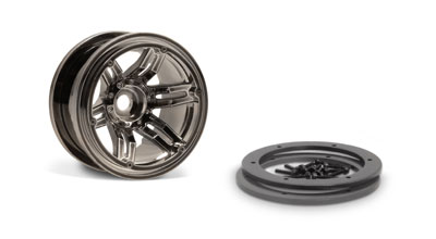 Image Of Axial 2.2 Rockster Beadlocks Wheels (Black Chrome) 12mm 2pc