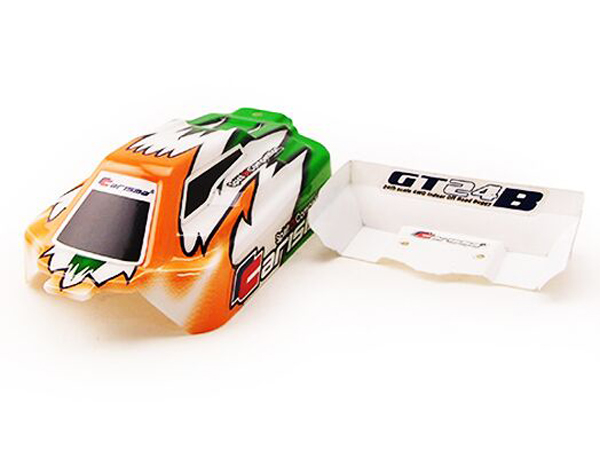 Carisma GT24B Painted and Decorated Bodyshell - Green and Orange CA15381