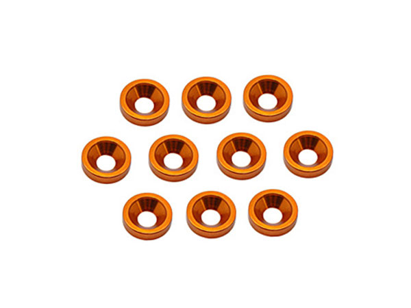 Core RC Alloy M3 Csk Washers - Orange pk10 CR301