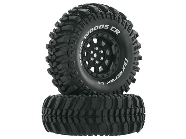 Duratrax 1.9 Deep Woods CR Tyres Mounted on Black Wheels (2) 1/10 DTXC4026