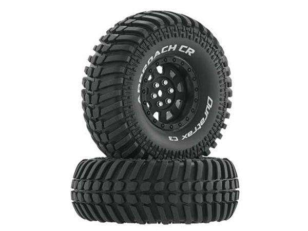 Duratrax 1.9 Approach CR Tyres Mounted on Black Wheels (2) 1/10 DTXC4030