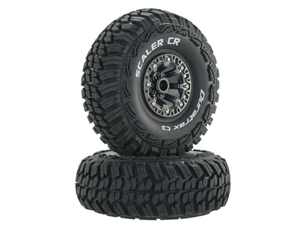 Duratrax 2.2 Scaler CR Tyres Mounted on Black Chrome Wheels (2) 1/10 DTXC4039