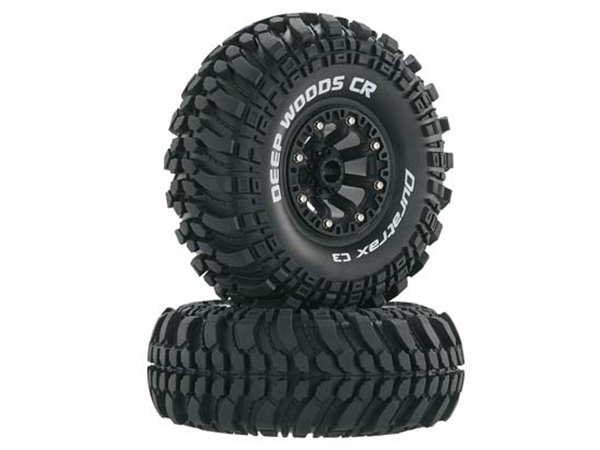 Duratrax 2.2 Deep Woods CR Tyres Mounted on Black Wheels (2) 1/10 DTXC4042