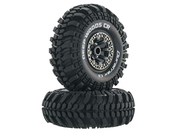 Duratrax 2.2 Deep Woods CR Tyres Mounted on Black Chrome Wheels (2) 1/10 DTXC4043