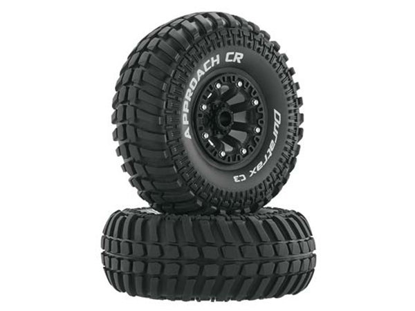 Duratrax 2.2 Approach CR Tyres Mounted on Black Wheels (2) 1/10 DTXC4046