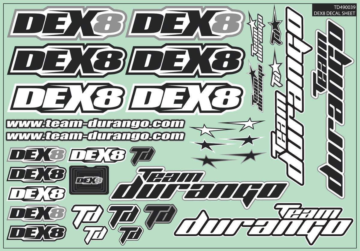 Team Durango Dex8 Decal Sheet TD490039