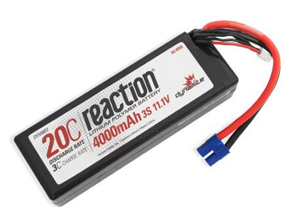 Dynamite Reaction 11.1volt 4000mah 3S 20C Hardcase LiPo with EC3 Plug DYN9002EC