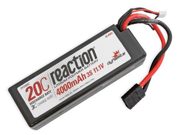 Dynamite Reaction 11.1volt 4000mah 3S 20C Hardcase LiPo with Traxxas Plug DYN9002T