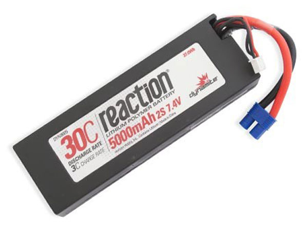 Dynamite Reaction 7.4volt 5000mAh 2S 30C Hardcase LiPo with EC3 Plug DYN9005EC