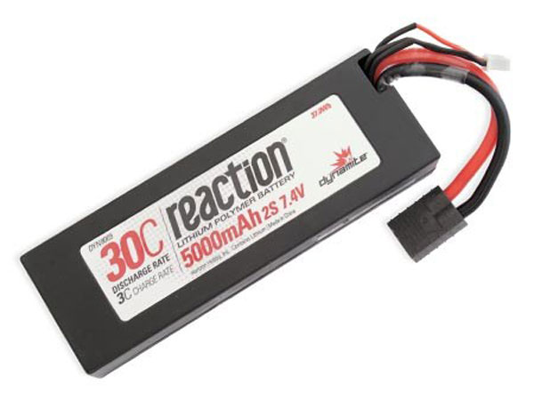 Dynamite Reaction 7.4volt 5000mAh 2S 30C Hardcase LiPo with Traxxas Plug DYN9005T