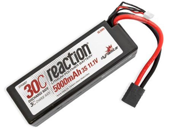 Dynamite Reaction 11.1volt 5000mAh 3S 30C Hardcase LiPo with Traxxas Plug DYN9007T