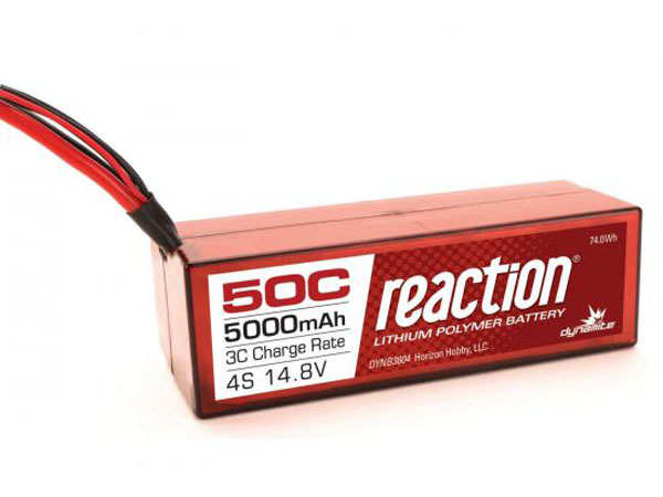Dynamite Reaction 14.8 volt 5000mAh 4S 50C Hardcase LiPo with Traxxas Plug DYNB3804T