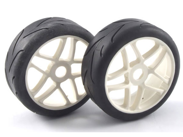 Fastrax 1/8th On-Road Pre-Mounted Slick Tyres on Split Spoke Wheels (2) FAST0010