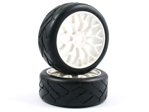 Fastrax Grid Iron 1/8th On-Road Pre-Mounted Slick Tyres on Y Spoke Wheels (2) FAST0014