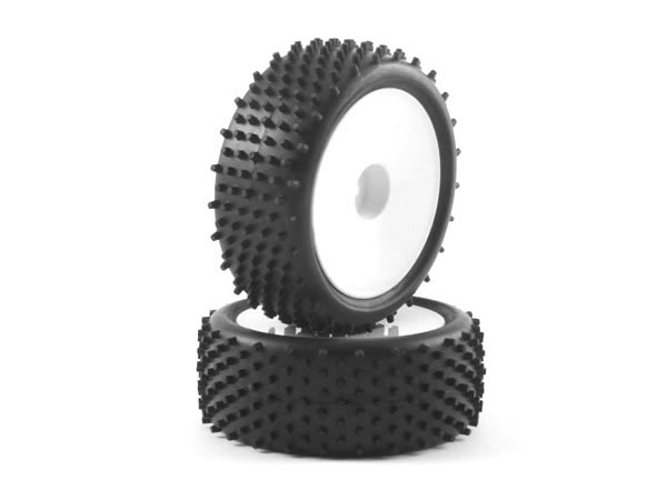 Fastrax Stub 1/10th Buggy Tyres Pre-Mounted on Dish Wheels (2) - Front FAST0046