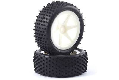 Fastrax 1:10th Stub Tyres Mounted On Spoked Wheels - Front (White) FAST0046S