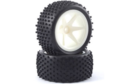 Fastrax 1:10th Stub Tyres Mounted On Spoked Wheels - Rear (White) FAST0047S