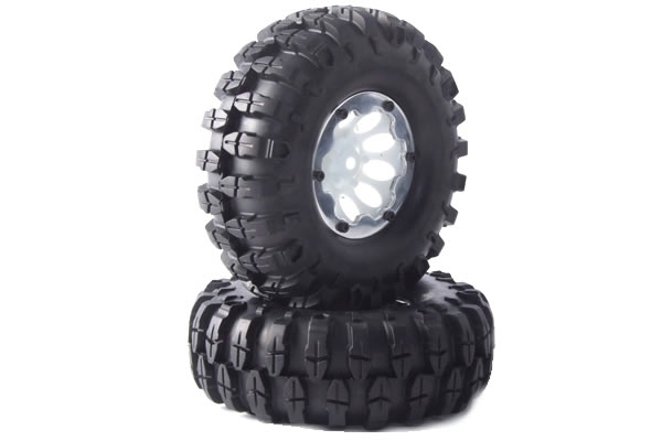Fastrax Snake 1.9 Crawler Tyres on Bead Protector Wheels (2) - White FAST0060W