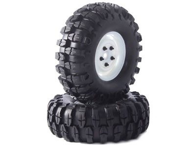 Fastrax Snake 1.9 Crawler Tyres on Scale Wheels (2) - White FAST0061W