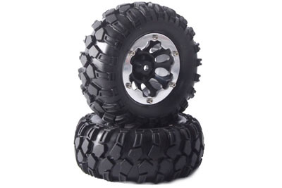Fastrax Kong 96mm Crawler Tyres on 1.9 Bead Protector Wheels (2) - Black FAST0062B
