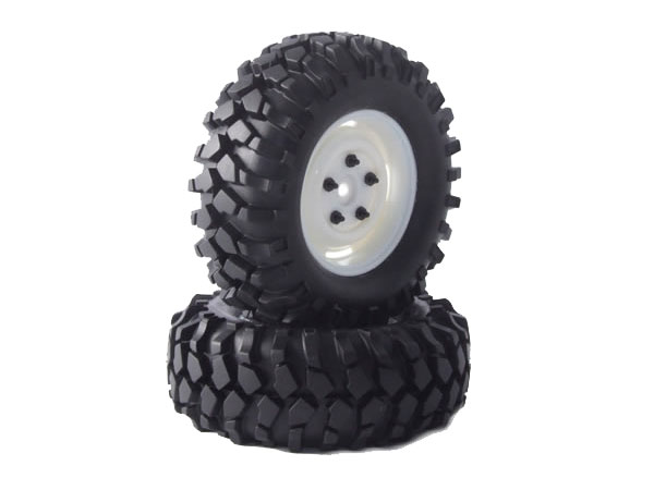 Fastrax Kong 96mm 1.9 Crawler Tyres on Scale Wheels (2) - White FAST0063W
