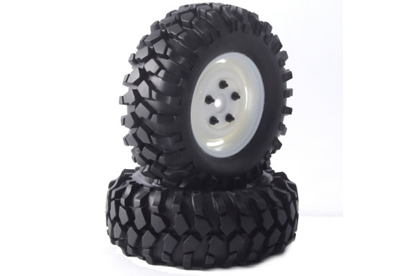 Fastrax Kong 90mm Crawler Tyres on 1.9 Scale Wheels (2) - Black FAST0065B