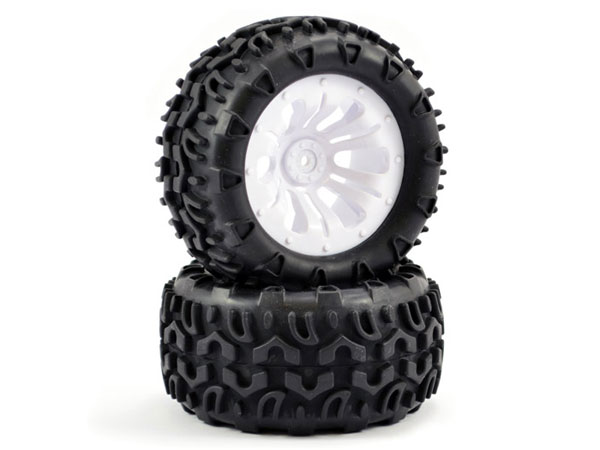 Fastrax 1/10 KlaxonTruck Tyre Mounted on White 12-Spoke (12mm Hex) FAST0068W
