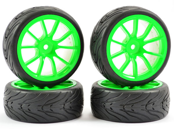 Fastrax 1/10 Street/ Tread Tyre 10 Spoke Neon Green Wheels FAST0072G