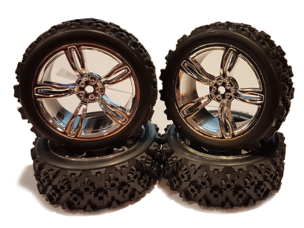 Fastrax 1/10th Touring Wheel/ Rally Block 5-Spoke - Chrome FAST0074C