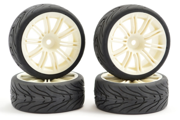 Fastrax Street/ Treaded Tyre Mounted on 20 Spoke White Wheels (4) FAST0077W