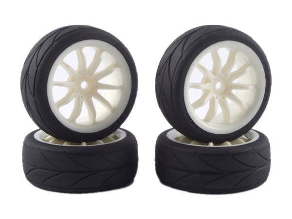 Fastrax 10-Spoke Touring Car Wheel and Tyre Set (4) - White FAST0080W