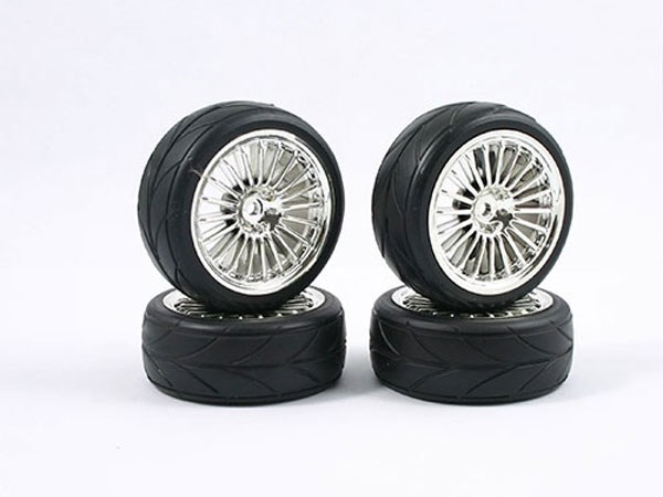 Fastrax 1/10 Touring Wheel/ Treaded Tyres 20-Spoke Chrome (4) FAST0081C