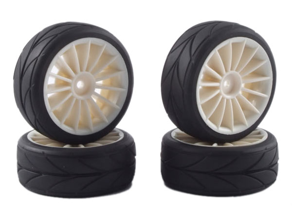 Fastrax 15-Spoke Touring Car Wheel & Tyre Set (4) - White FAST0082W