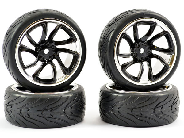Fastrax 1/10 Street/ Tread Tyre Tri-5 Black and Chrome Wheels FAST0088BC