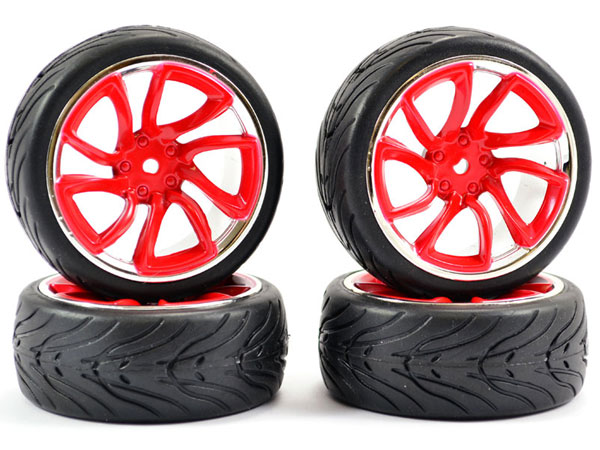 Fastrax 1/10 Street/ Tread Tyre Tri-5 Red and Chrome Wheels FAST0088RC