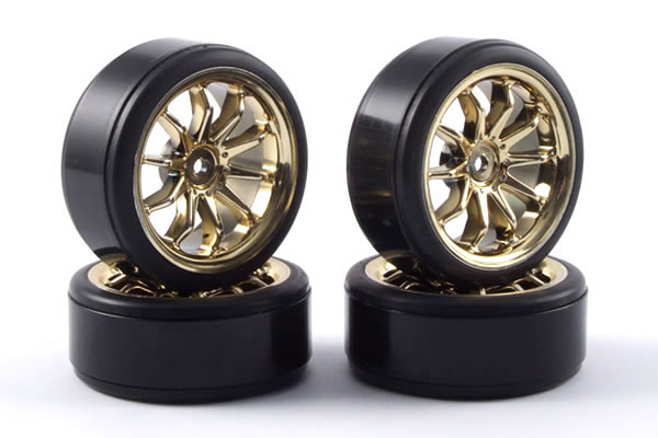 Fastrax 10-Spoke Drift Wheel & Tyre Set (4) - Gold FAST0090G