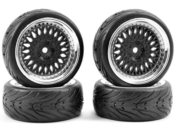 Fastrax 1/10 Street/ Tread Tyre Classic Black and Chrome Wheels FAST0098BC