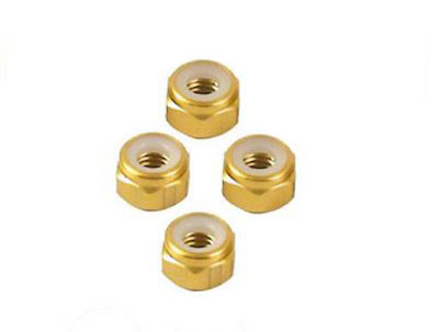 Image Of Fastrax M3 Gold Nyloc Locknuts