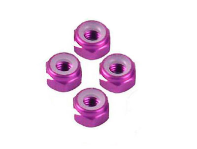 Image Of Fastrax M3 Purple Nyloc Locknuts