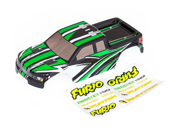 Funtek Pre-painted monster truck body - green (Furio) FTK-FURIO-038