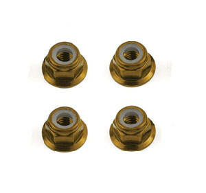 Image Of Fastrax M4 Aluminium Flanged Locknuts (Gold)
