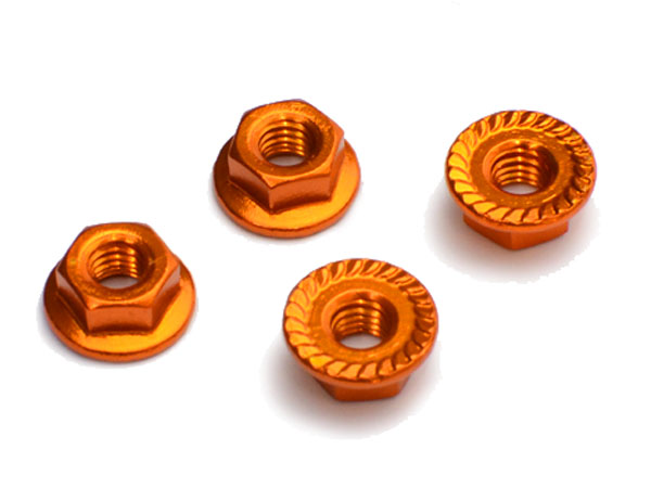 Image Of Fastrax M4 Serrated Aluminium Locknuts - Gold(4)