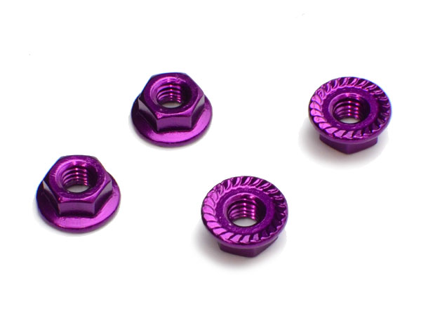 Image Of Fastrax M4 Serrated Aluminium Locknuts - Purple (4)